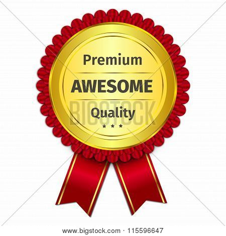 Awesome 3D Gold Badge With Red Ribbon