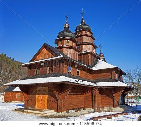 Wooden church in Ivano-Frankivsk on the way to Bukovel Ukraine