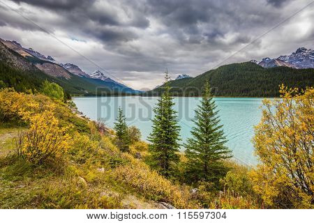 Autumn Bow Lake in Banff National Park, Canada. Azure waters of the lake surrounded by picturesque Rocky Mountains