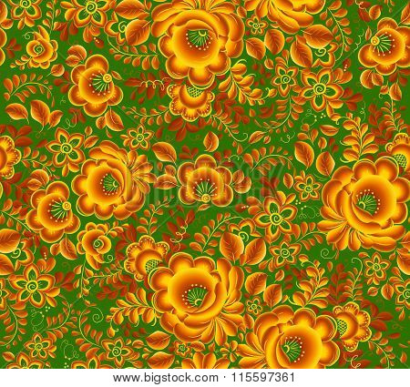 Gold and green floral pattern in Russian hohloma style