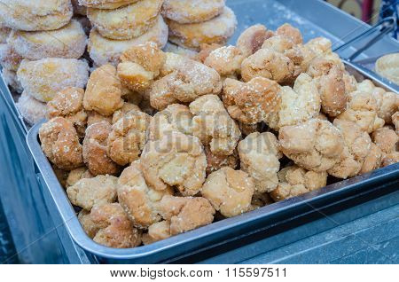 Fried White Sesame Cookie (thai Traditional Dessert)
