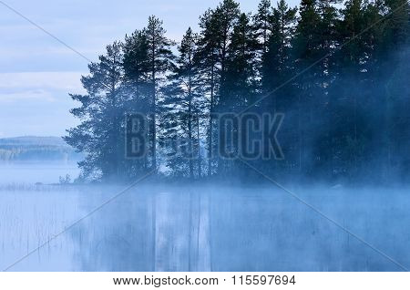 Finnish Lake With Fog