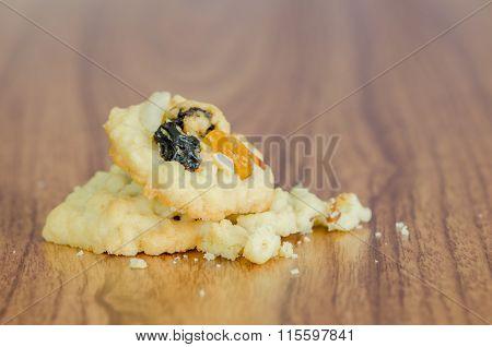 Homemade Fruitcake Cookies On Wood Table