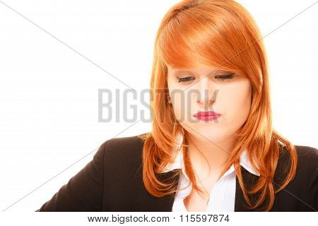 Unhappy Red Haired Businesswoman