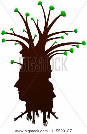 A tree of human silhouette heads