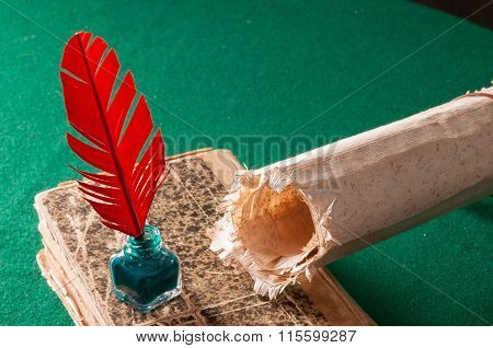 Quill Pen And Papyrus Sheet