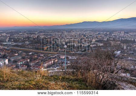 Amazing twilight Panorama of city of Plovdiv from Dzhendem tepe hill