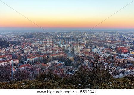 Panoramic landscape of city of Plovdiv from Dzhendem tepe hill