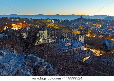 Night Cityscape of city of Plovdiv from Nebet tepe hill, Bulgaria