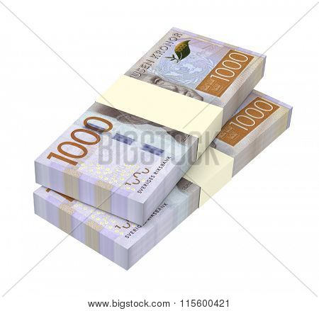 Swedish kronor isolated on white background. Computer generated 3D photo rendering.