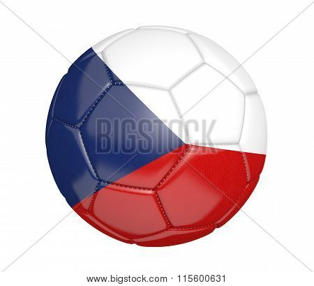 Football, alternatively called a soccer ball, with the national flag colors of the Czech Republic