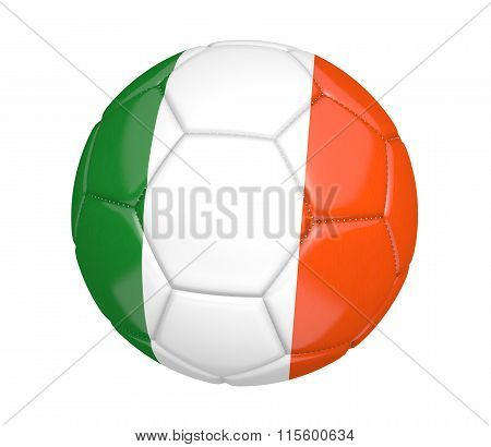 Football, alternatively called a soccer ball, with the national flag colors of Ireland