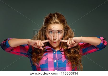 Portrait playful young brunette woman