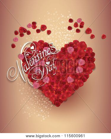 valentine's day background. Greeting Card. Heart made from rose petals