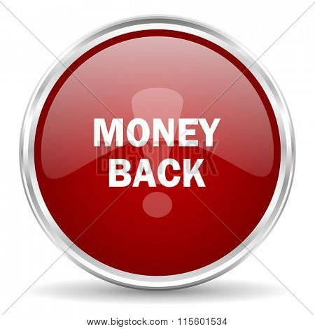 money back red glossy circle web icon