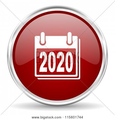 new year 2020 red glossy circle web icon