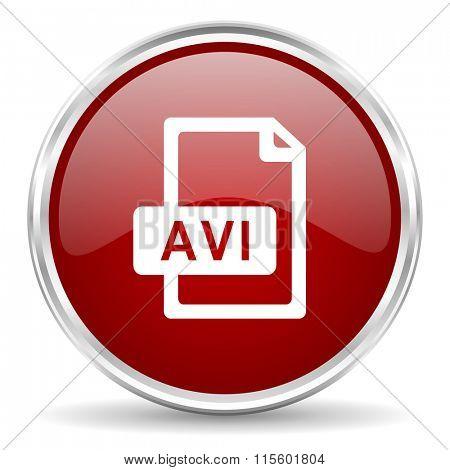avi file red glossy circle web icon