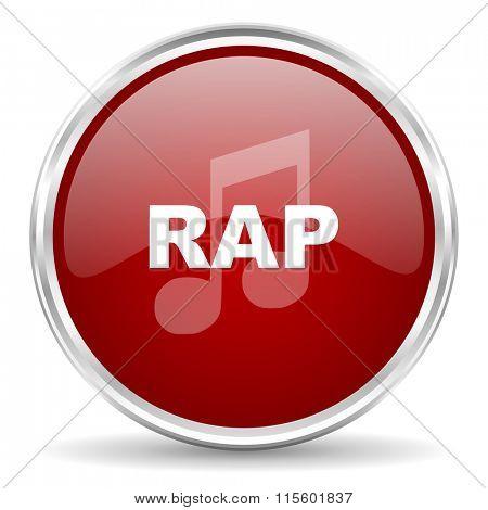 rap music red glossy circle web icon