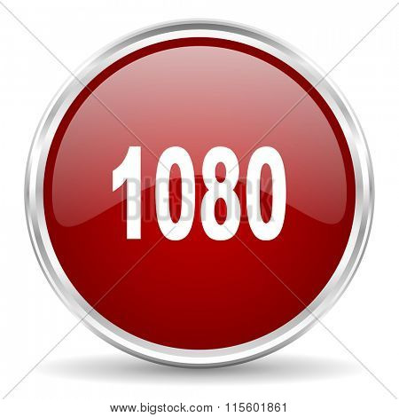 1080 red glossy circle web icon