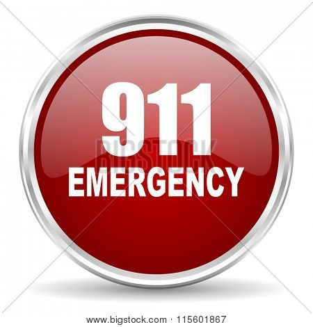 number emergency 911 red glossy circle web icon