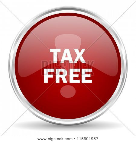 tax free red glossy circle web icon