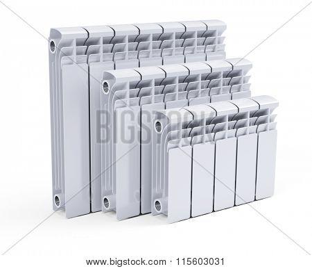 White contemporary heating radiators isolated on white