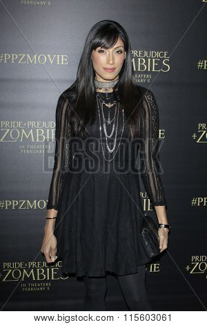 LOS ANGELES - JAN 21:  Tehmina Sunny at the Pride And Prejudice And Zombies Premiere at the Harmony Gold Theatre on January 21, 2016 in Los Angeles, CA