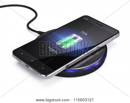 Abstract Wireless charging of abstract smartphone isolated on white background - 3d render