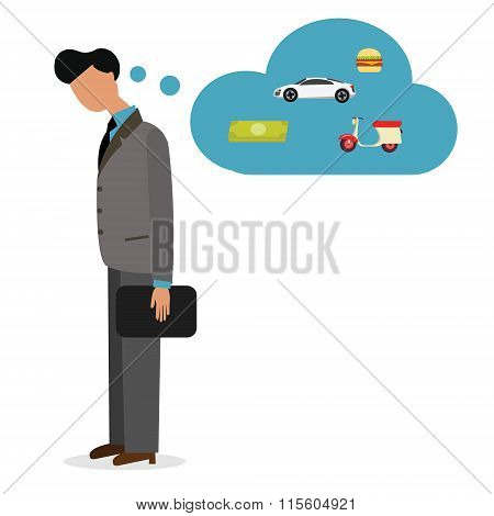 man unemployed need job work  thinking debt pay car bill