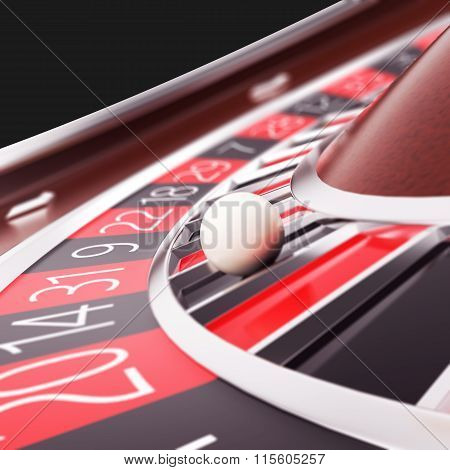 Render casino roulette close up.