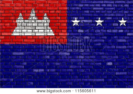 Flag Of Khmer Republic Painted On Brick Wall