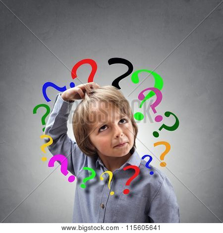 Child scratching head with question mark around head concept for confusion, brainstorming and choice