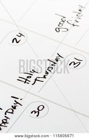 Holy Thursday On A Calendar