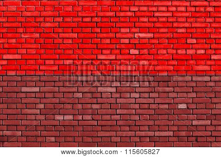 Flag Of Kingdom Of Mysore Painted On Brick Wall