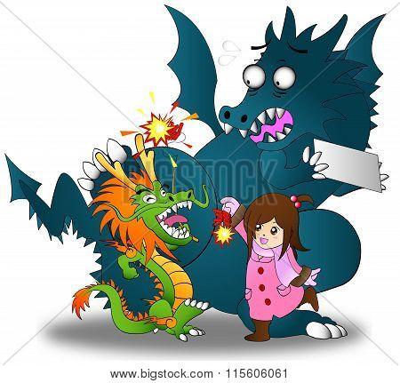 Cartoon Illustration Of Little Asian Chinese Girl Playing Firecracker With Both Chinese And Western