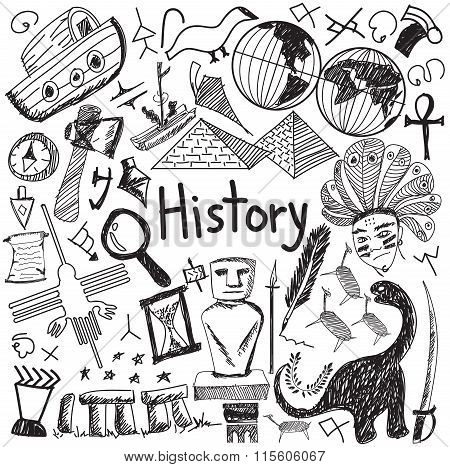 History Education Subject Handwriting Doodle Icon Of Landmark Location Culture Sign And Symbol White