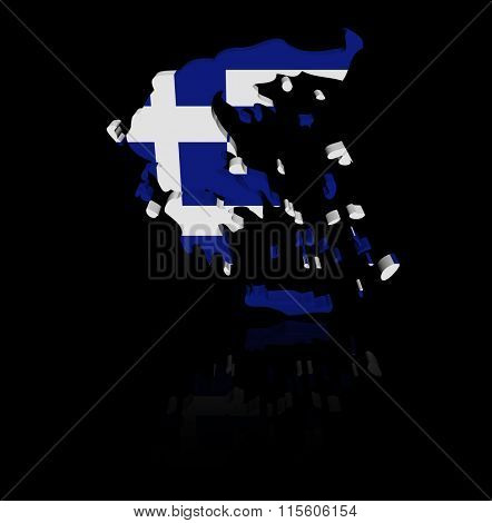 Greece map flag with reflection illustration