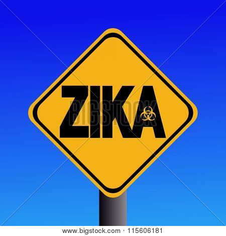 Zika virus warning sign on blue illustration