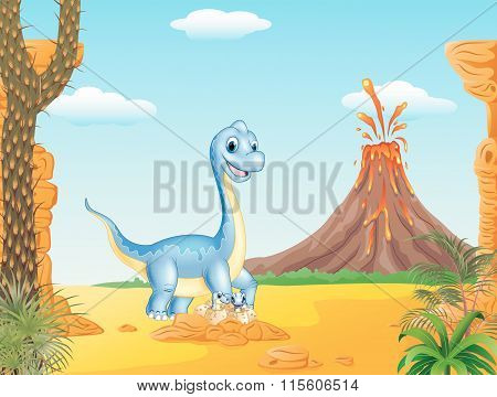 Cartoon mom and baby dinosaur hatching with the prehistoric background