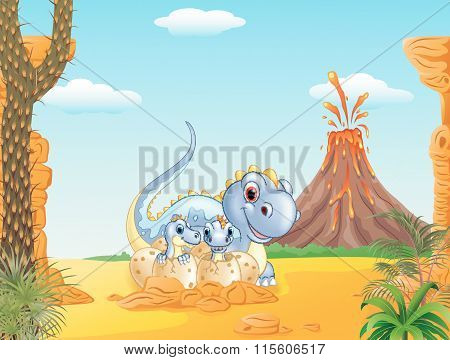 Cartoon happy mom dinosaur and baby dinosaurs hatching in the prehistoric background