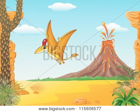 Cartoon funny pterodactyl flying with prehistoric background