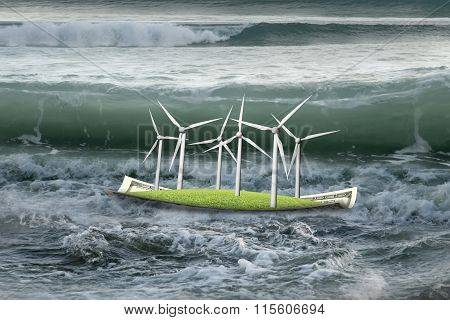 Wind Turbines On Money Boat With Oncoming Wave In Ocean