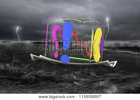 Transparent Cube Of Business Graphs On Money Boat With Storm