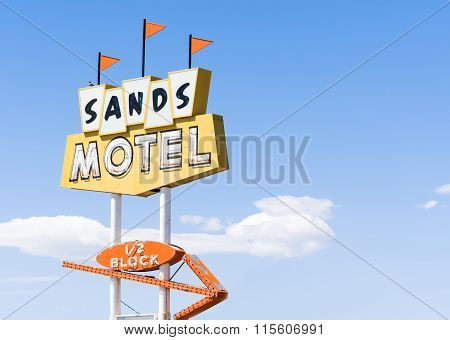 Sands Motel And Sign Historic Route 66 At Grants New Mexico, Usa