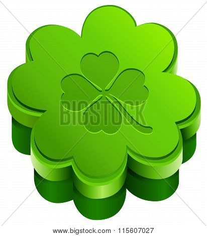 Green closed gift box shape of quatrefoil leaf clover. Lucky clover leaves