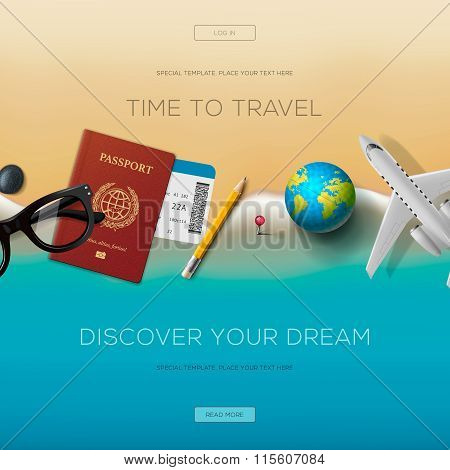 Colourful travel banner set for your business