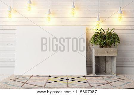 Modern bright interior . 3D render