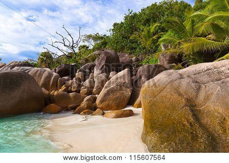 Beach Anse Lazio at Seychelles - nature background
