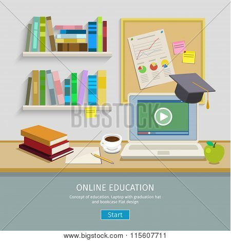 Workplace with computer for online education