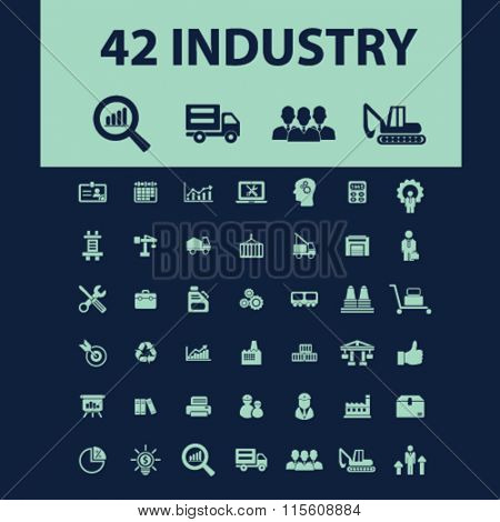 Industrial business, factory, industry, meeting, logistics, manufacturing, industrial plant, engineering, business concept  icons, signs vector concept set